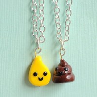 Silly Handmade Bathroom Best Friend Necklaces - Pee & Poop