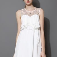 White Pixie Embellished Frilling Chiffon Dress