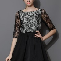 Black Lace & Silky Panel A-Line Dress
