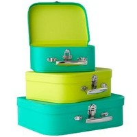 Storage Boxes: Bright Green/Lime Bon Voyage Suitcase Set of 3