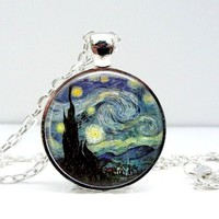 Starry Night Van Gogh Dome Pendant Necklace