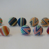 Chevron and Stripe Earrings Set of Six Pair Button Style Perfect for Summer or Spring Earring Set Jewelry