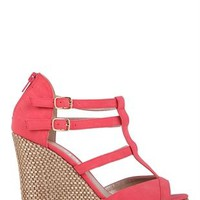 Basket Weave Platform T-Strap Wedge