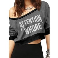 "Women's ""Attention Whore"" Crop Pullover by Dirty Cotton Scoundrels (Grey/Black)"