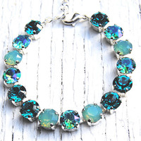 Mint Sea Foam Bracelet Mermaids Lair Swarovski Crystal Tennis Necklace Dark Teal Pacific Opal Aqua Mist Tennis Bracelet Mashugana