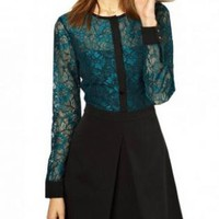 Black and Teal Contrast Slim Waist Lace Dress