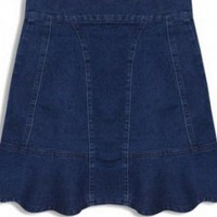 Blue High-Waisted Denim Skirt with Back Zipper