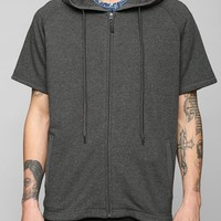UNYFORME Fishtail Short-Sleeve Zip-Up Hoodie Sweatshirt