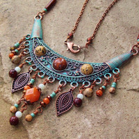 Bohemian Necklace - Copper Bib with Cabochon gemstones and Beaded Dangles - Patina Jewelry