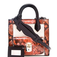 BALENCIAGA | Mini Padlock Work Python, Canvas and Leather Bag | Browns fashion & designer clothes & clothing