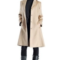 Women's Knee Length Overcoat in Pure Cashmere