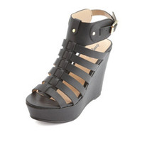 STRAPPY PLATFORM GLADIATOR WEDGE SANDALS
