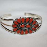 Silver Coral Cuff Bracelet Native American Pawn 1940s Jewelry Red Coral