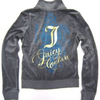 "Juicy Couture Track Jacket ""Juicy Couture"" Turquoise Blue and Golden Design with Rhinestones in Heather Prestige (Grey)"