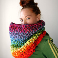 Chunky Cowl Rainbow Scarf One of a Kind by LarkinAndLarkin on Etsy