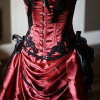 GYPSY Gorgeous Red Black Burlesque Corset Costume by olgaitaly
