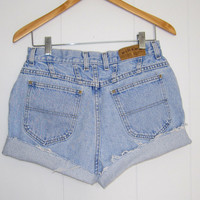 Vintage Cut Off High Waisted Jean Shorts Denim Cuffed Light Wash Blue 28""