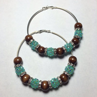 Turquoise and Brown Hoop Earrings