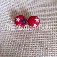 Star Spangled Cover Button Earrings