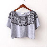 Sweet Vintage Flower Printing Short Batwing Tops T-shirt