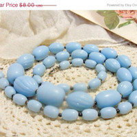 SALE - Vintage satin baby blue beaded necklace.