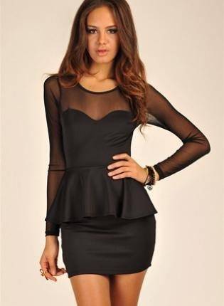 Black Long Dress on Black Mini Dress   Long Sleeve Peplum Mesh Mini   Ustrendy On Wanelo