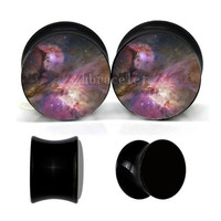 Galaxy ear plugs ,vintage ear gauges ,UV acrylic ear plugs,wedding plugs,pretty ear gauges