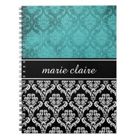 Black and Teal Green Damask Personalized Notebook