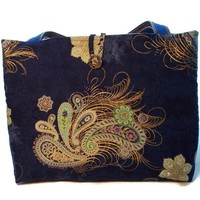 Navy Blue Tote Purse Gold Swirls Paisley Print Brown Faux Leather