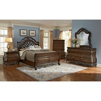Velasquez Burl Bedroom 6 Pc. King Bedroom | Furniture.com