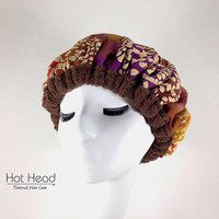 Deep Conditioning Thermal Heat Cap - Natural Hair Care Treatment - Brown Berry Swirl Reversible Hot Head
