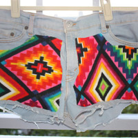 Levi&#x27;s Dyed Denim Cutoffs with Guatemalan/Navajo by makelovewear