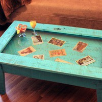 Display Coffee Table with Glass Top Rustic by natureinspiredcrafts