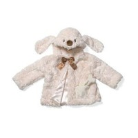 Auggie Doggie Coat with Chocolate Ribbon Bone with Rattle Inside Pocket.
