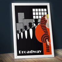 "New York Illustration Poster 1930s. Broadway. Size: 17 1/2"" x 25"""