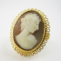 Vintage Cameo Ring Shell Cameo Adjustable Ring Signed Vendome