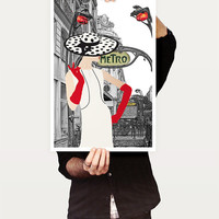 Vintage Paris - Fashion Illustration - Retro Fashion Art - Digital Collage Art Print.