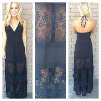 Shakira Halter Maxi Dress - BLACK