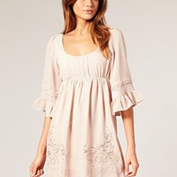 Lipsy | Lipsy Lace Insert Scoop Neck Prairie Dress at ASOS