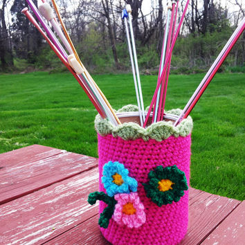 Eco friendly container sleeve, can sleeve, can cozy, crochet can cover