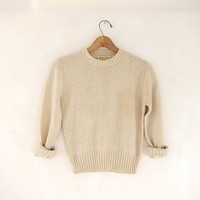 vintage oatmeal cream wool sweater. small fit sweater.