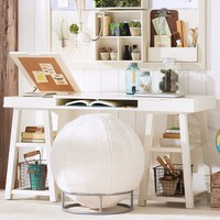 Customize It Project Desk Top + Trestle Legs, Antique White