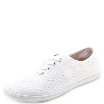 CANVAS & EYELET LACE SNEAKERS