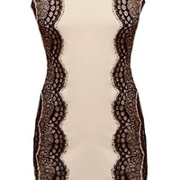 Lace Embrace Dress | Scalloped Beige Lace Bodycon Dresses | Rickety Rack