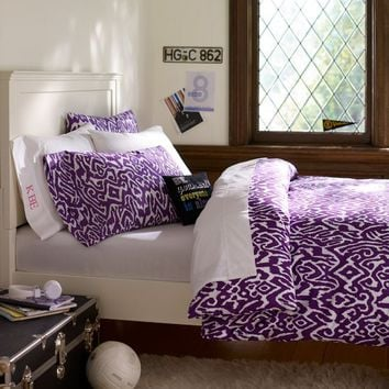 Urban Ikat Organic Duvet Cover + Pillowcases, Plum