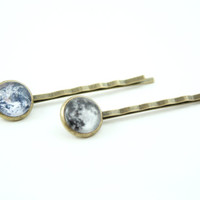 Galaxy Hair Pins, Space Bobby Pin, Full Moon and Planet Earth Hair Accessories