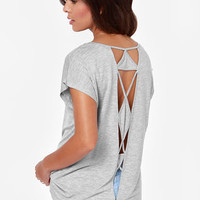 Volcom Get Low Cutout Grey Top