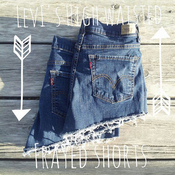 Levi's Dark Denim High Waisted Frayed Vintage Shorts