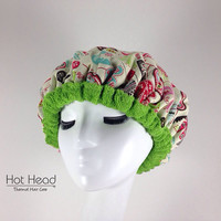 Hot Head Deep Conditioning Microwavable Heat Cap - Natural Hair Care Product - Deep Conditioner Treatment - Boho Green Reversible