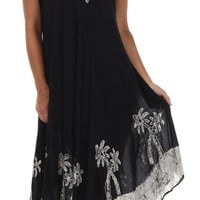 Sakkas Women's Batik Palm Tree Cap Sleeve Caftan Dress